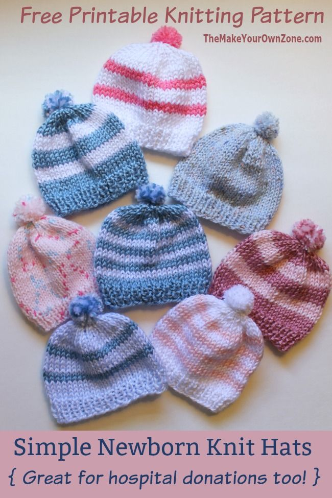Free Knitting Pattern Simple Newborn Knit Baby Hat Easy For