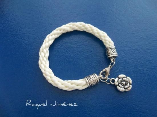 short sailor or nautical style necklace for summer. Woven white rayon necklace in Ibizan style