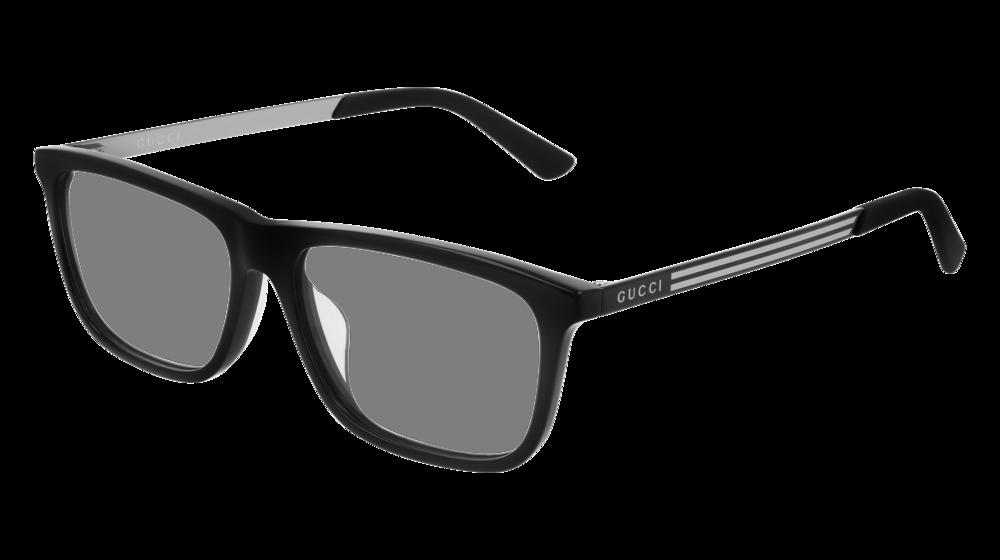 GUCCI GG0696OA RECTANGULAR / SQUARE Eyeglasses For Men – 55-15-150 / GG0696OA-001 BLACK BLACK / TRANSPARENT SHINY