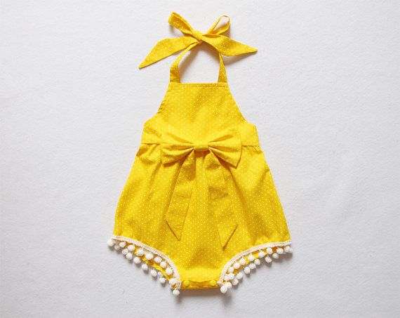 Hey, I found this really awesome Etsy listing at https://www.etsy.com/listing/484071900/yellow-polka-dot-baby-gril-romper-baby