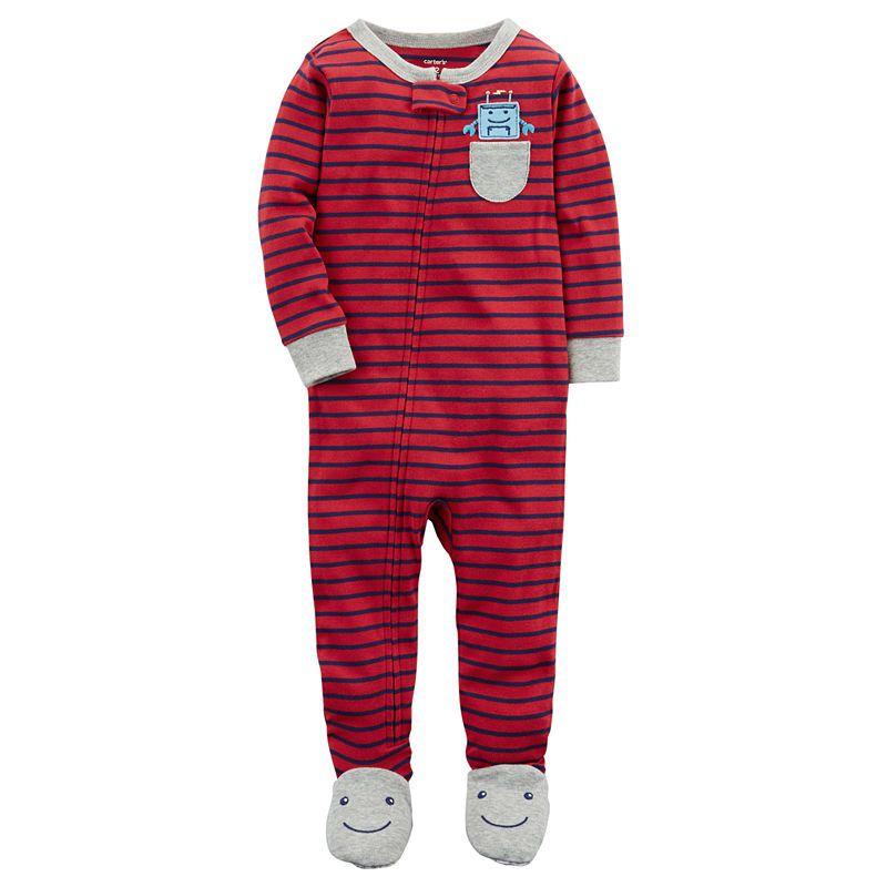 59a684575 Carter's Boys Knit One Piece Pajama Long Sleeve Round Neck ...