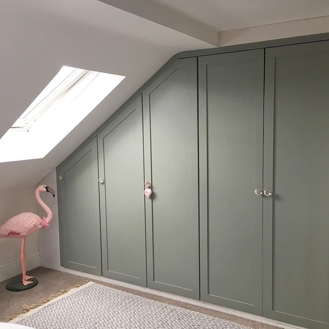 Cabin Bedroom Fitted Furniture: Fitted Wardrobes In Farrow & Ball 'Pigeon'. #loftroom