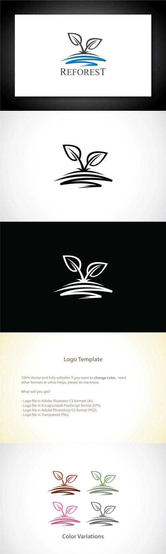 Reforest Leaf Logo Template | Tierra y Logotipos