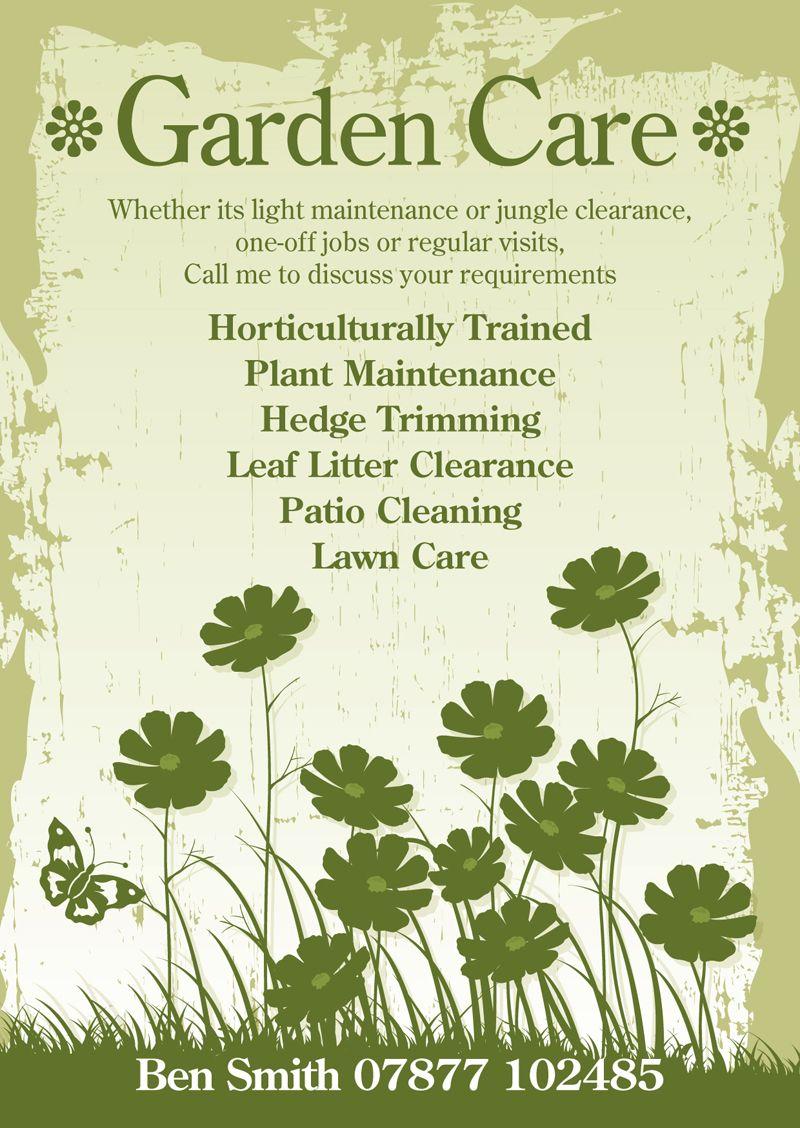 Garden care flyer design by for Garden maintenance flyers