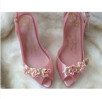 2014 Nova melissa chegada sapatos geléia flores de noiva de salto peixe contas tamanho 35-40 plus size