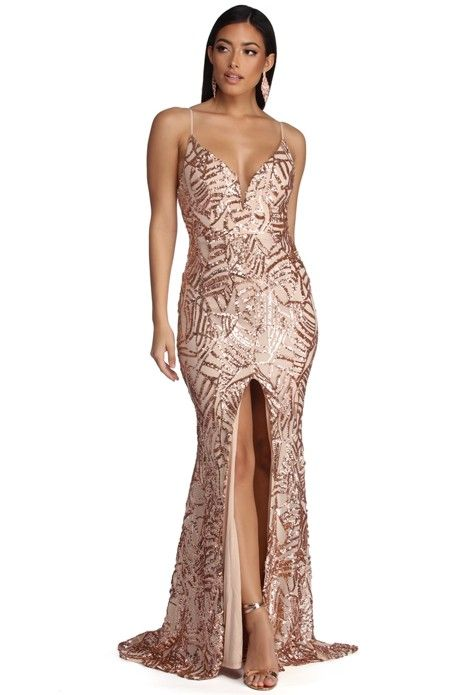 cd5bca41d7812 Charice Flared Geometric Sequin Dress in 2019 | prom dresses | Rose ...