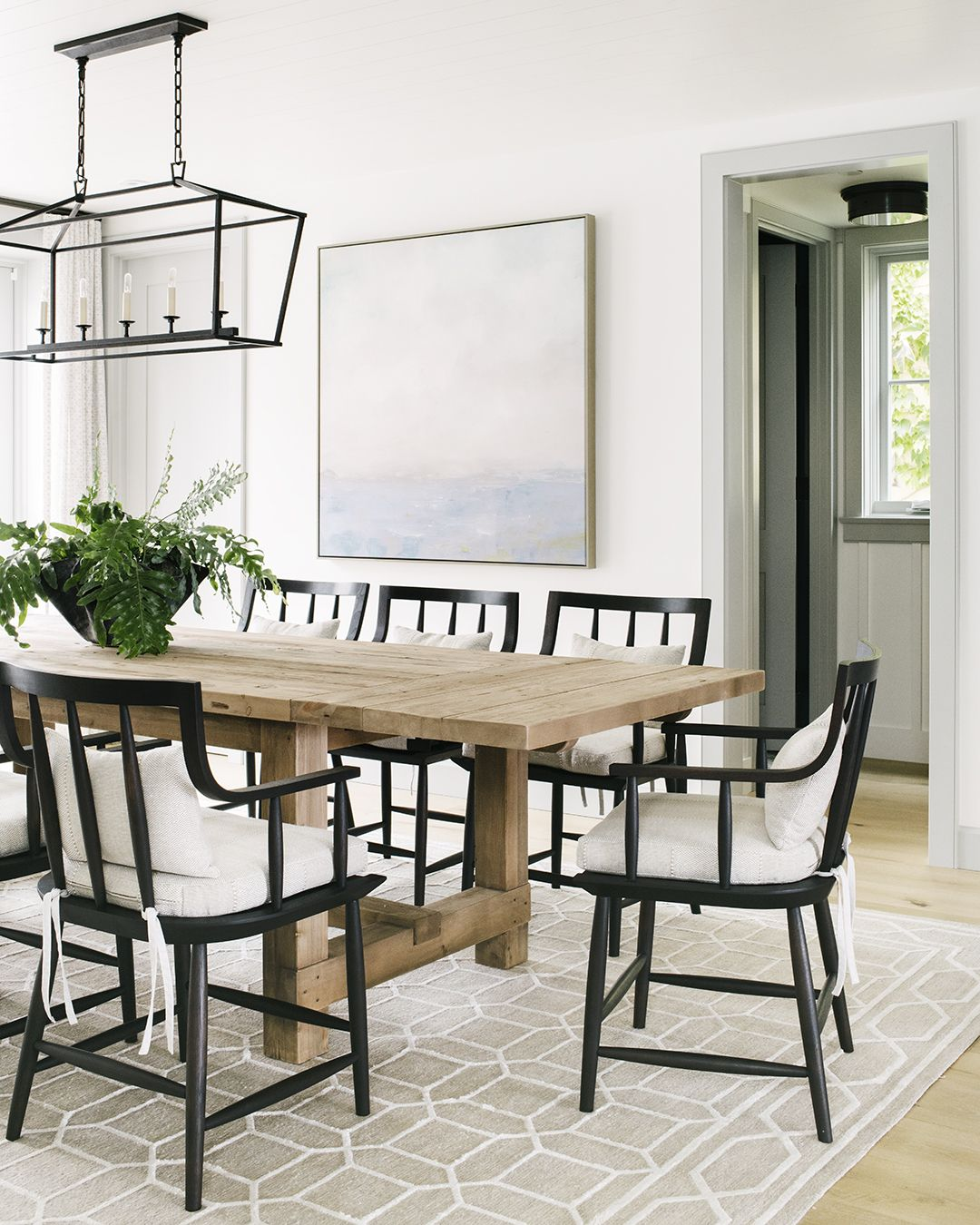 Traditional Dining Room With Pops Of Black Modern Farmhouse