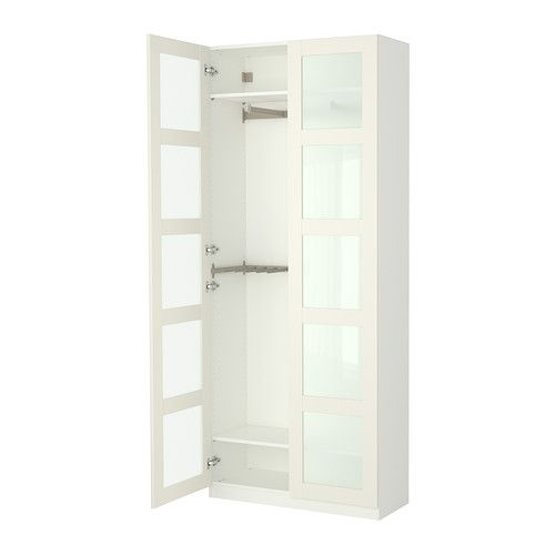 Ikea pax bergsbo frostglas  IKEA PAX Wardrobe with interior organizers, white, Bergsbo frosted ...
