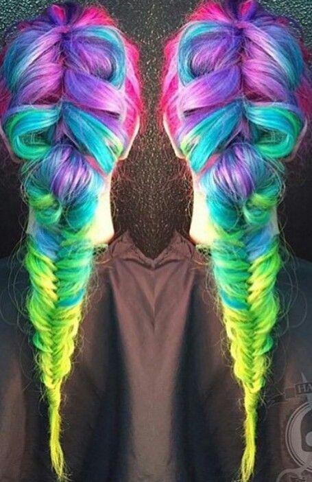 green rainbow dyed hair pretty