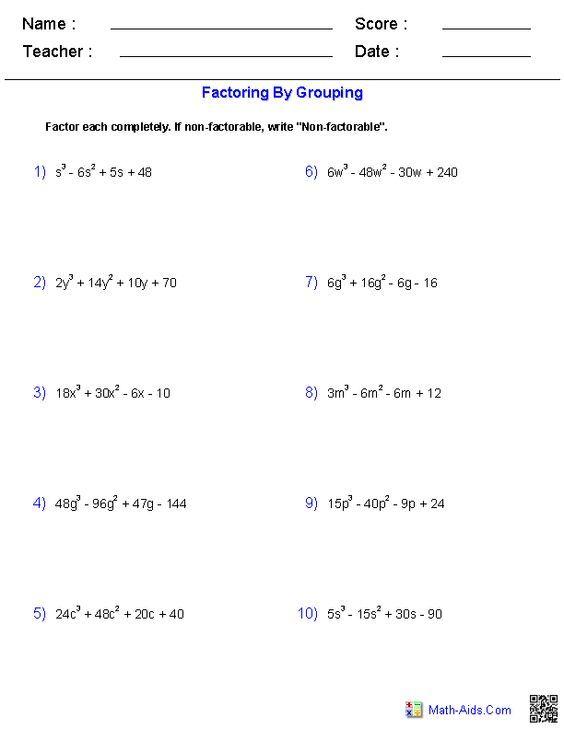 Algebra 1 Worksheets Monomials And Polynomials Worksheets Factoring Polynomials Algebra Worksheets Algebra 2 Worksheets