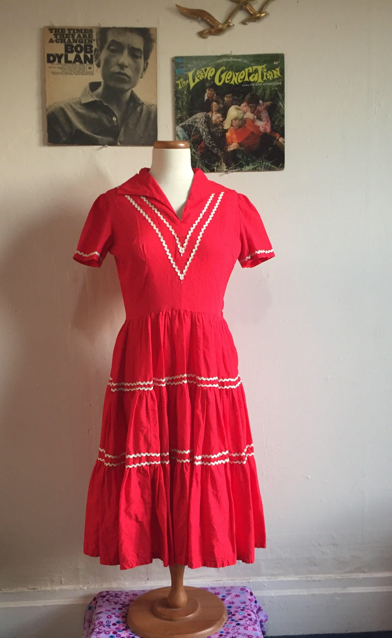 Vintage Wanda Patio Dress 1950s Red Square Dance Dress