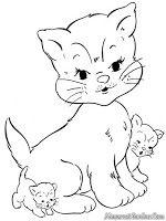 Gambar Kucing Untuk Diwarnai : gambar, kucing, untuk, diwarnai, Gambar, Mewarnai, Induk, Kucing, Bermain, Bersama, Halaman, Mewarnai,