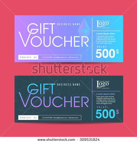 Vector illustration,Gift voucher template with colorful pattern - prize voucher template