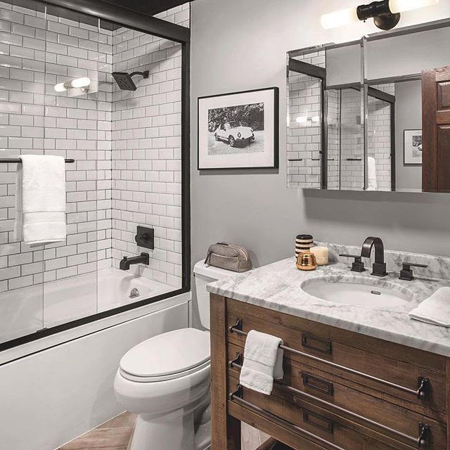 Modern Rustic Bathroom   Rustic master bathroom, Modern ... on Rustic Farmhouse Bathroom Tile  id=21937