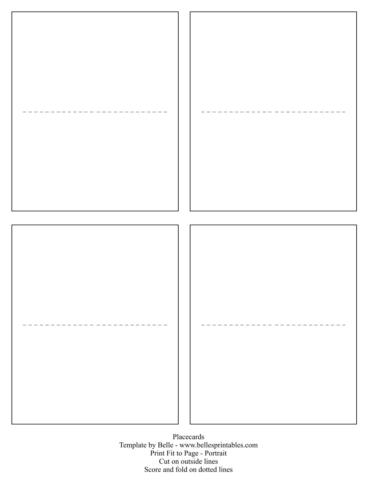 Card Template Placecards DIYdos And What Dos Templets - Template for place cards