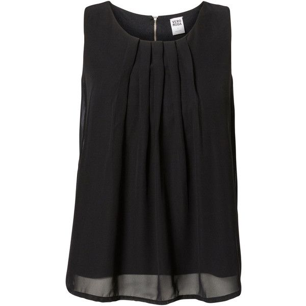Vero Moda Pleats Sleeveless Blouse (1,030 INR) ❤ liked on Polyvore featuring tops, blouses, shirts, black, round neck shirt, cut loose shirt, zip blouse, pleated blouse and zipper shirt