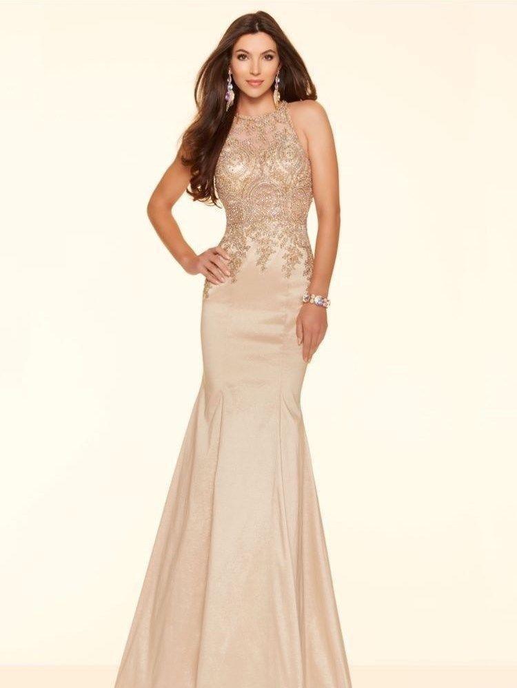 Fishtail Mori Lee Paparazzi Prom Dress in Champagne Size 8 | eBay ...