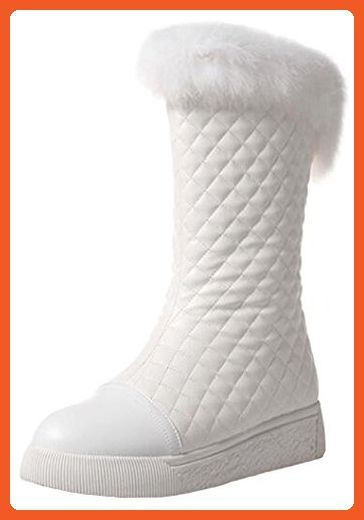 Women's Trendy Faux Fur Plaid Round Toe Platform Slip-on Fleece Lined Flats Mid Calf Snow Boots