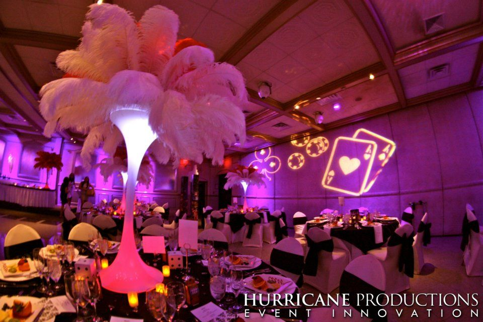Lighting and decorations turned this venue into a Vegas themed event ...