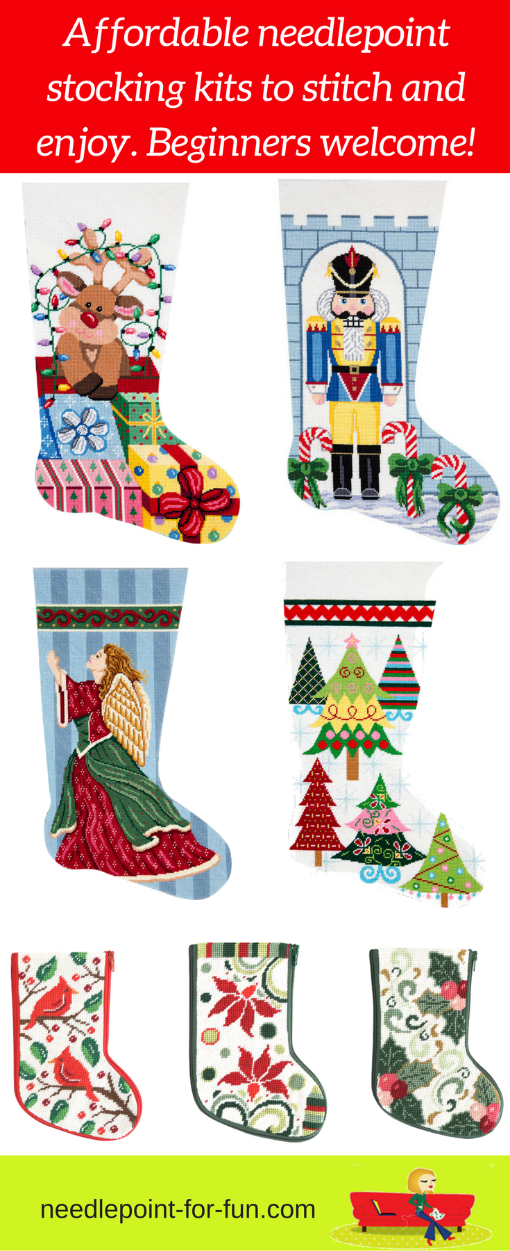 Needlepoint Christmas stocking kits for beginner and experienced ...