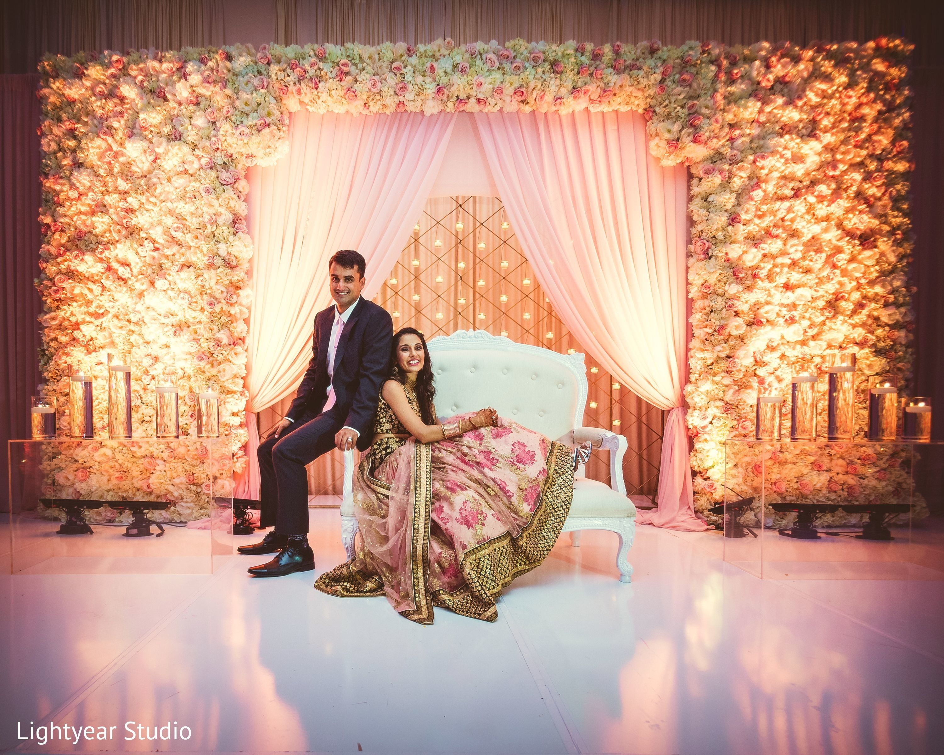 Photo reception portrait maharani weddings reception decor reception portrait in jersey city nj indian wedding by lightyear studio junglespirit