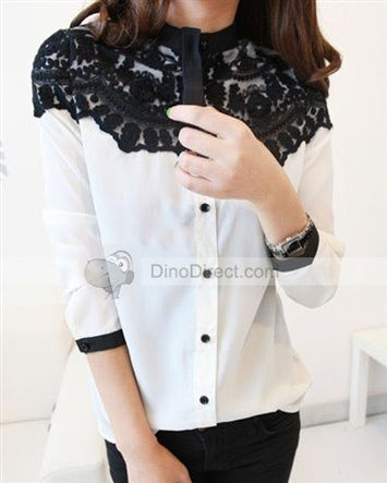 Dianice™ Fashion Lace Jointing Two Tone Stand Collar Single Breasted Chiffon Women Blouse