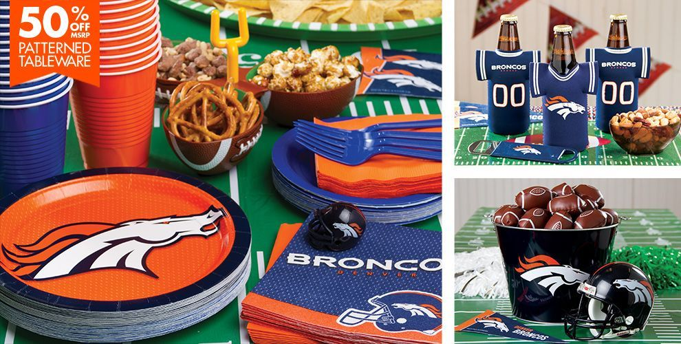 Nfl denver broncos party supplies decorations party for Super bowl party items