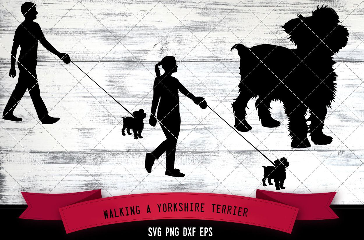Man Woman Walking A Yorkshire Terrier Dog Dog Lover Dog Etsy Yorkshire Terrier Dog Yorkshire Terrier Dog Silhouette