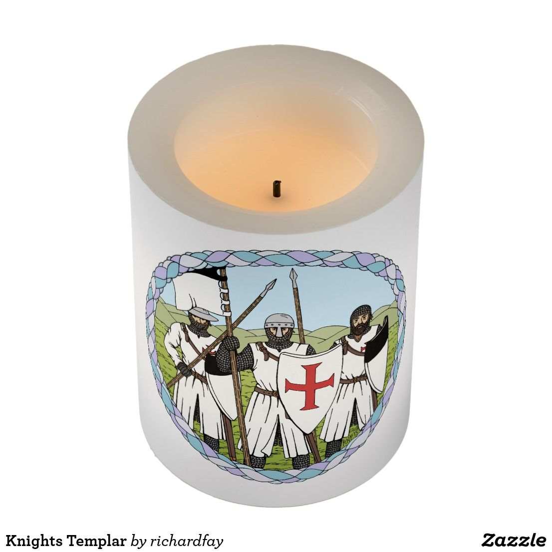 Knights Templar Flameless Candle.  50% Off with code ZAZZLEDESIGN.  Last Day!  Offer is valid through August 4, 2017, 11:59 PM PT.  #Zazzle #candle #flameless_candle #LED_candle #Knights_Templar #Templars #medieval_knights #crusader_knights #knights #crusaders
