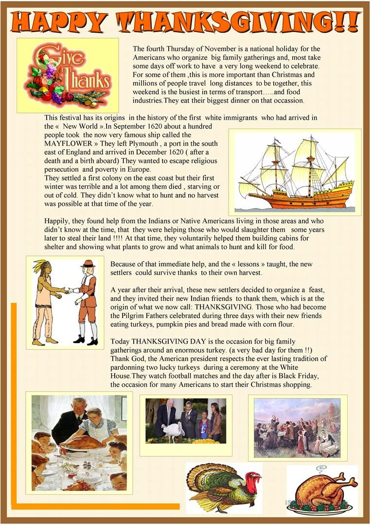 Happy Thanksgiving 2 Page Reading Activity Worksheet Free Esl Printable Worksheets Made By Tea Thanksgiving Lessons Thanksgiving Readings Reading Activities