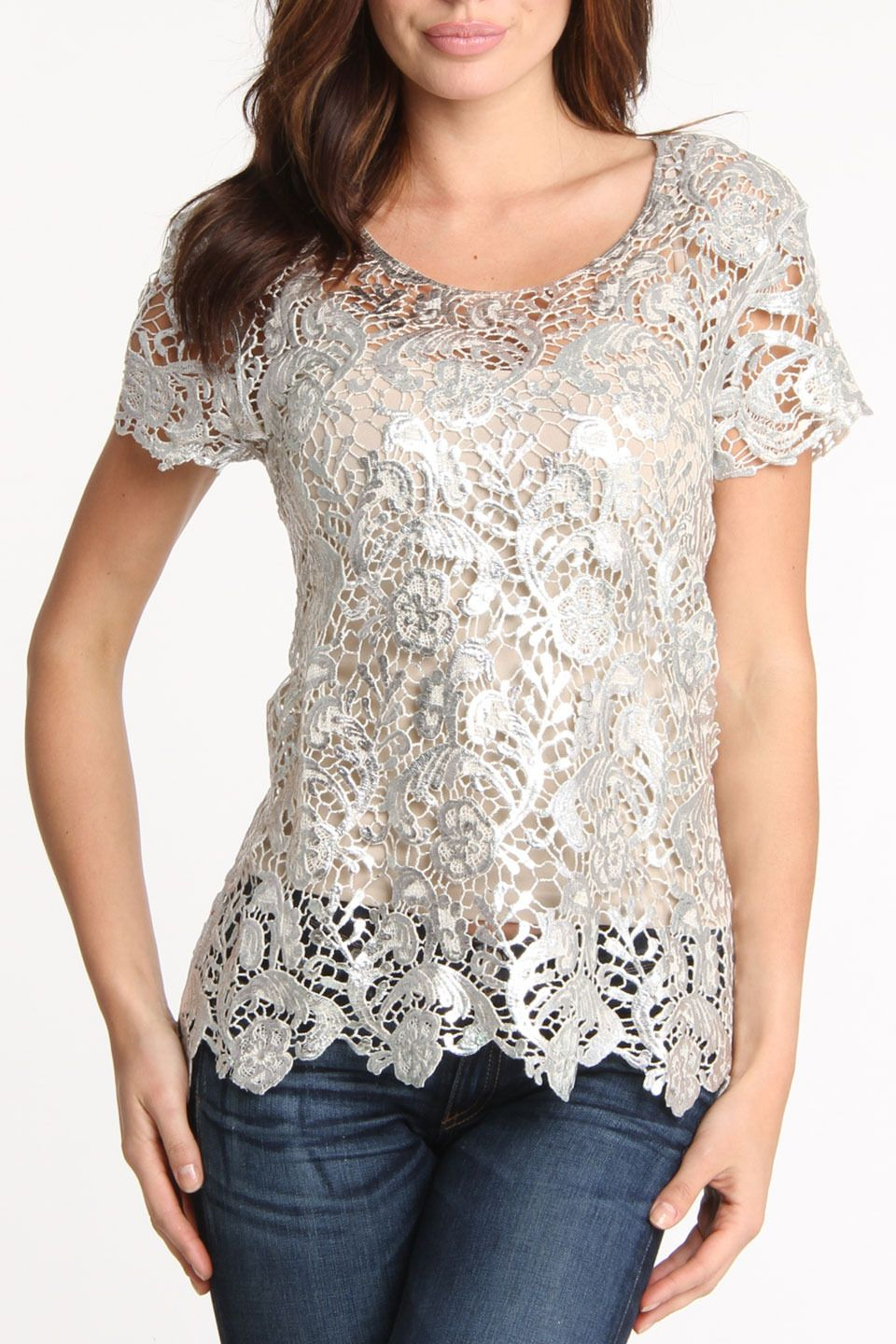 Hugging kisses Foil Printed Venetian Lace Tunic in Silver - Beyond the Rack