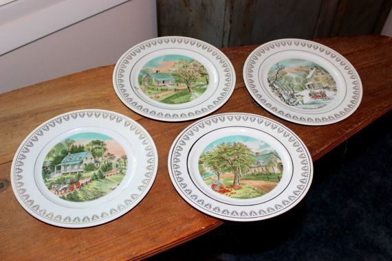 Vintage Decorative Plates Set of 4 Currier \u0026 Ives by IguanaFindIt & Vintage Decorative Plates Set of 4 Currier \u0026 Ives The Four Seasons ...