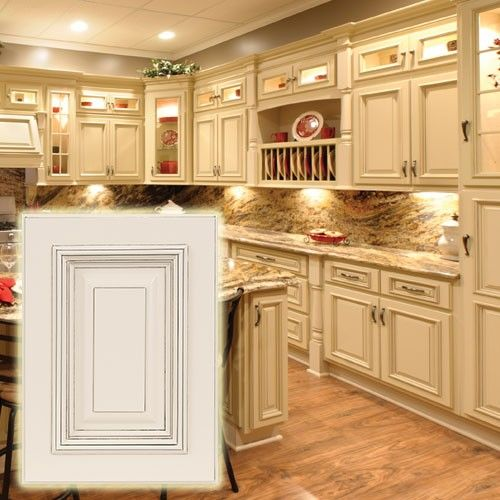 Heritage white cabinets with dark glaze these light for Photos of white glazed kitchen cabinets