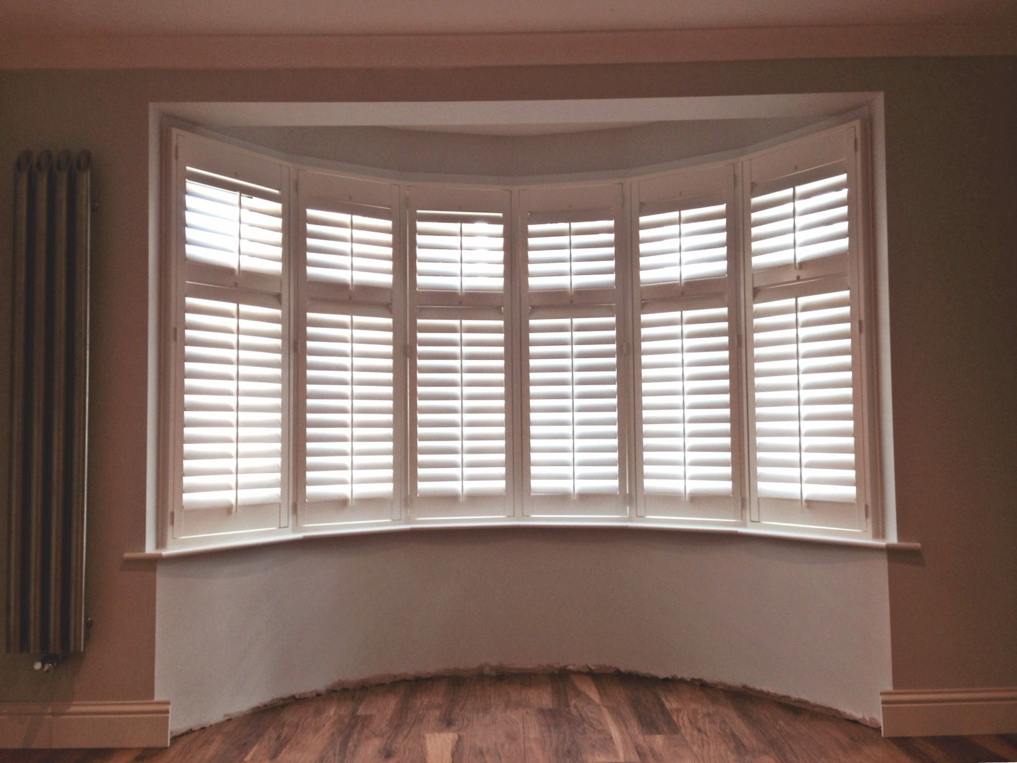 This Lovely 6 Sided Bay Was Dressed Perfectly With Our Boston Range Of  Wooden Interior Shutters