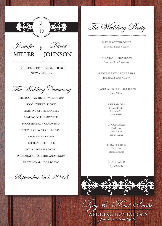 Printable Wedding Program Diy Elegant Lace Frame Printable Wedding Programs Diy Printable Wedding Programs Wedding Programs