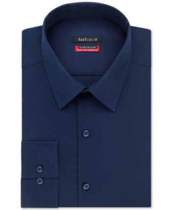 2b32f58d8032f Van Heusen Men s Slim-Fit Flex Collar Stretch Solid Dress Shirt - Blue 15.5  32 33