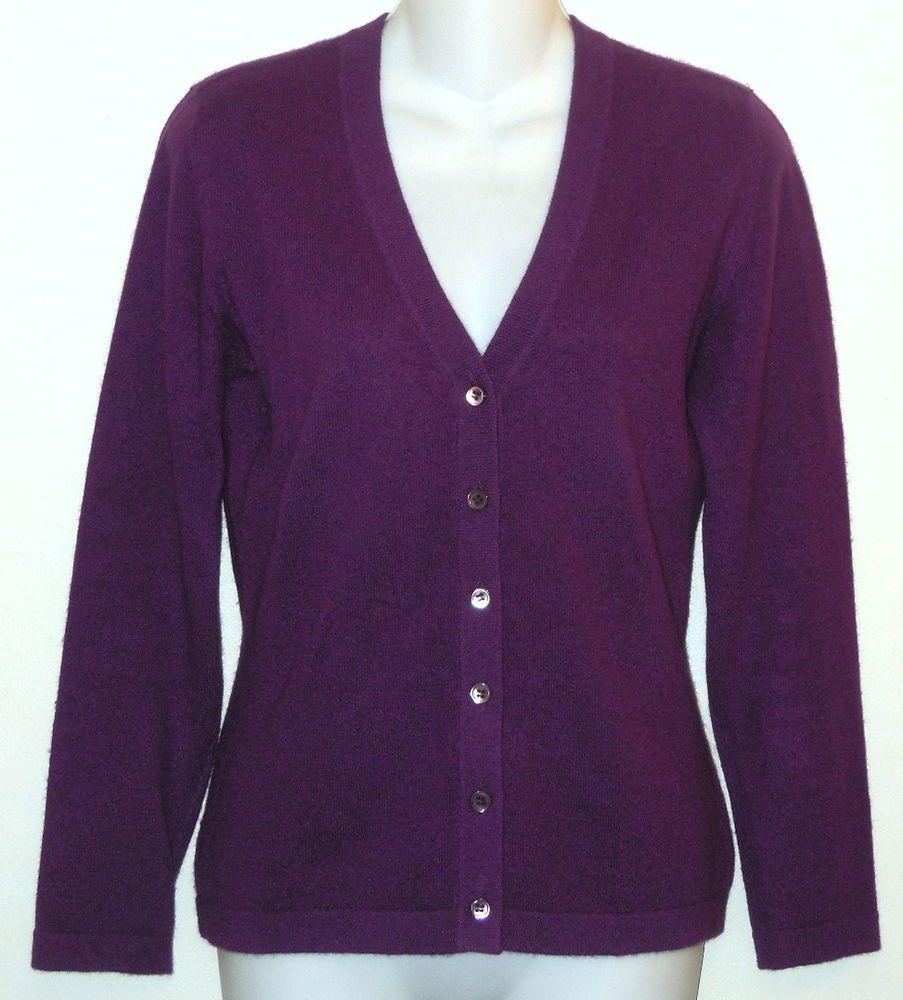PURE COLLECTION Cardigan sz 10 100% Cashmere Sweater Purple Knit ...