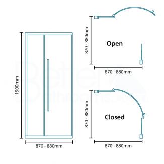 Alona 6mm 900 X 900 Frameless Hinged Quadrant Shower Enclosure