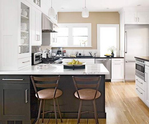 Two Tone White Kitchen Cabinets Black Quartz Countertops Black Kitchen  Peninsula Island