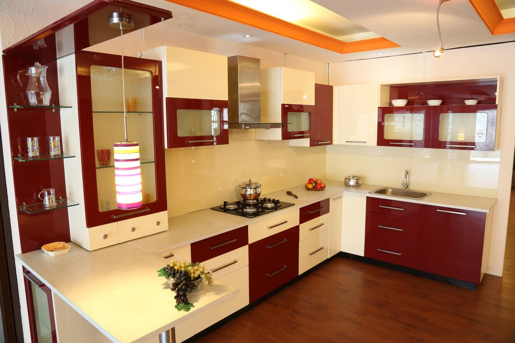 Impressive Kitchen Space With Red And White Interior And Wooden Simple Cupboard Designs For Kitchen In India Design Ideas