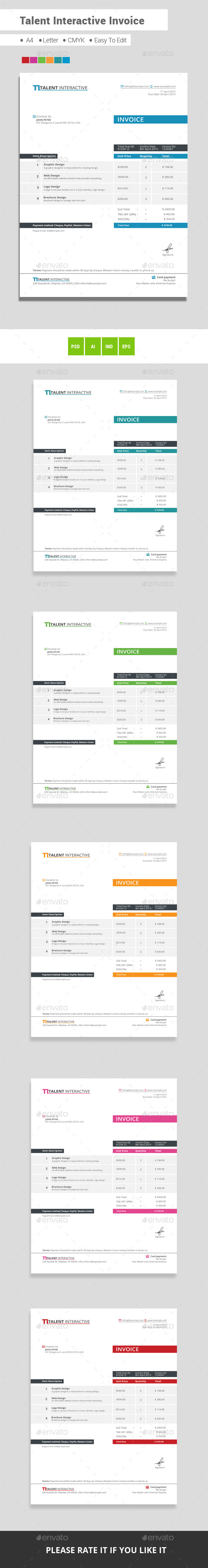 Talent Interactive Invoice  Business Proposal Font Logo And Fonts