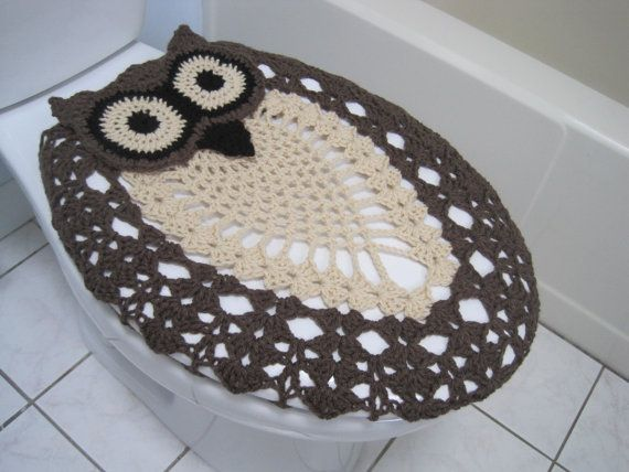 Cool Crochet Owl Toilet Seat Cover Taupe Heather Oatmeal Black Dailytribune Chair Design For Home Dailytribuneorg