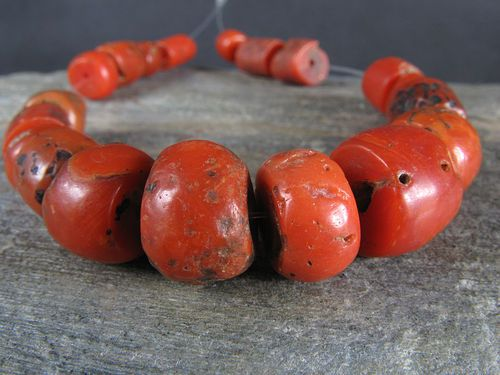 19 Selected OLD NATURAL RED CORAL beads. Precious color. MOROCCO