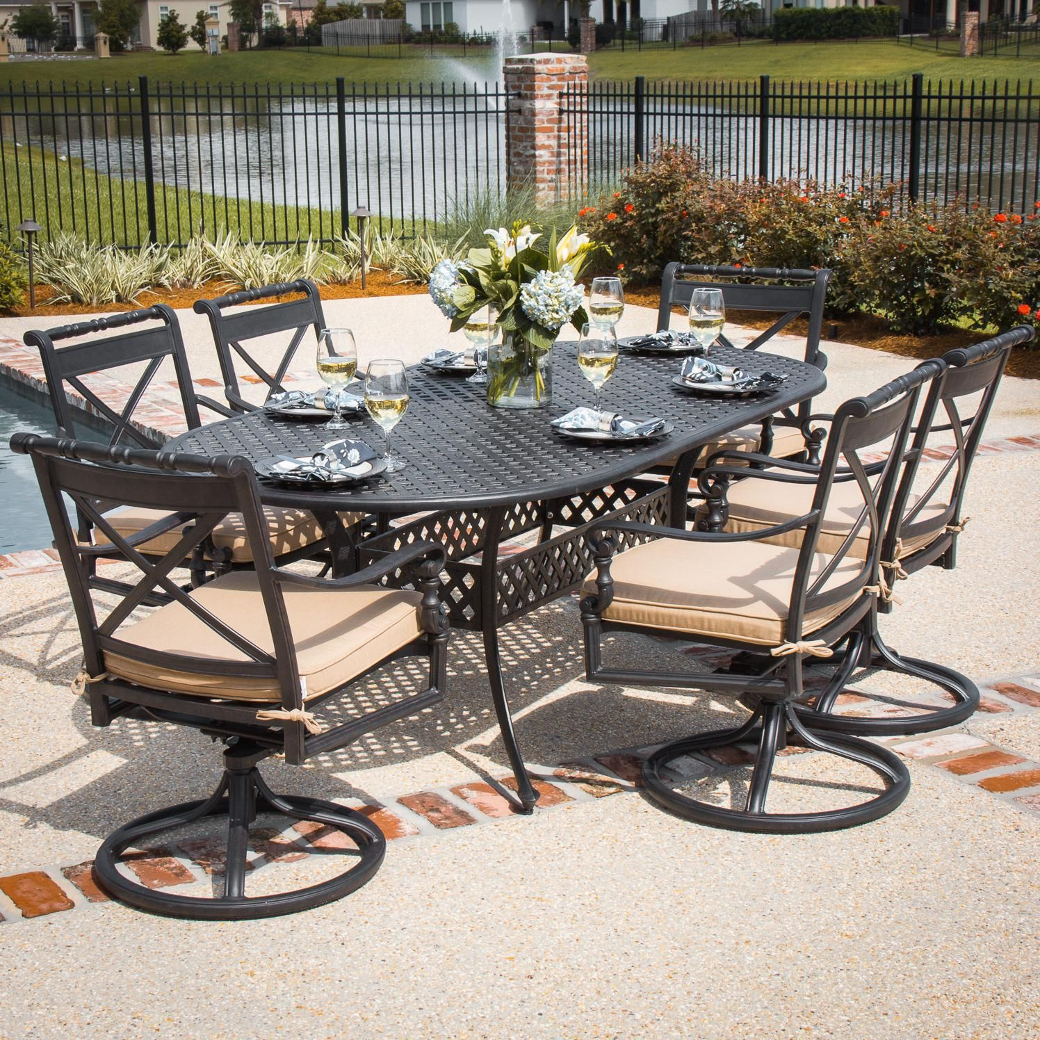 Carrolton 7 Piece Cast Aluminum Patio Dining Set With Swivel Rockers Oval Table By Lakeview Outdoor Designs Canvas Antique Beige Bbqguys Patio Dining Set Patio Outdoor Design Cast aluminum outdoor dining set