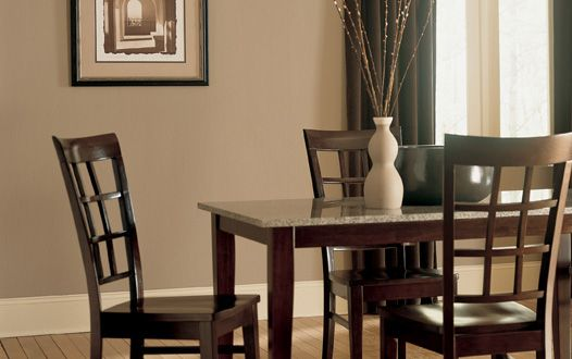 brown paint color ideas: brown paint color: neutral dining room with