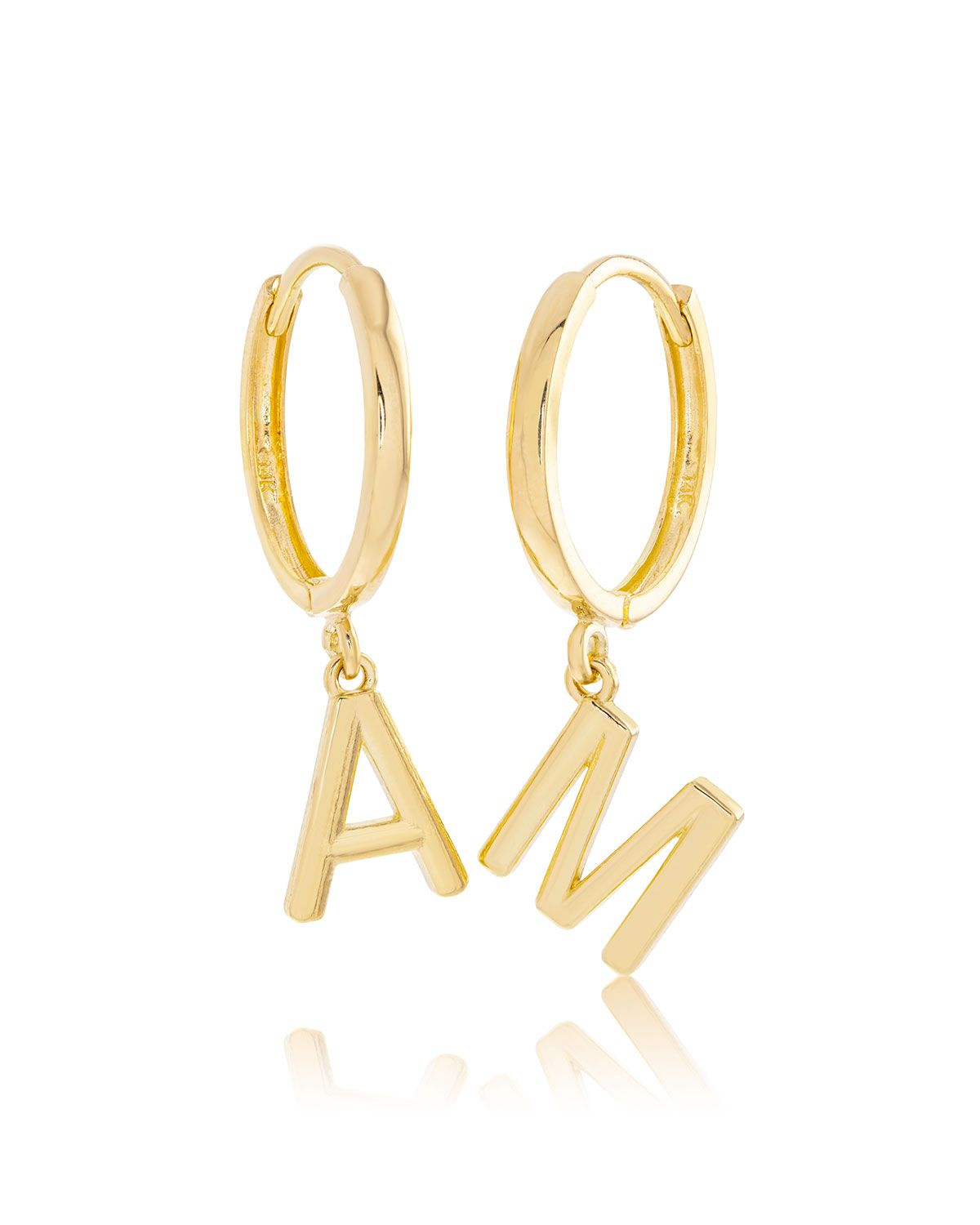 Stone And Strand 14k Gold Initial Huggie Earrings In 2020 Initial Earrings Huggies Earrings Gold Initial