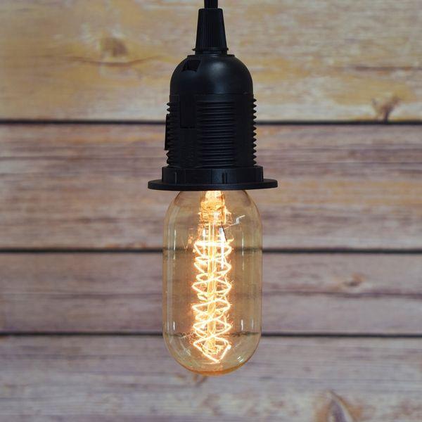 40-Watt Incandescent T45 Vintage Edison Light Bulb, Spiral Filament
