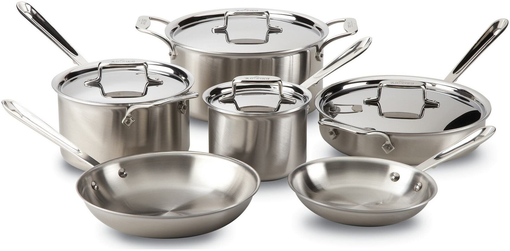 All Clad D5 Brushed Stainless Steel 10pc Cookware Set In 2021 Dishwasher Safe Cookware Safest Cookware Cookware Set All clad d5 brushed stainless steel 10 piece set