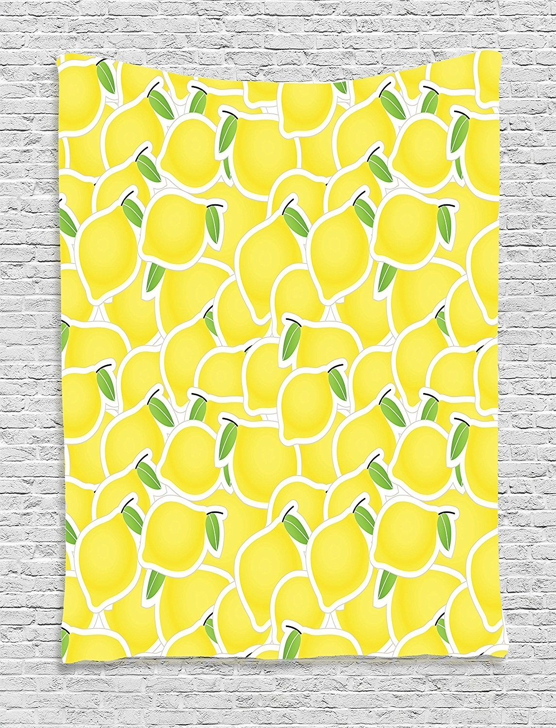 Ambesonne Yellow Decor Collection, Illustration of a Bunch of Lemon ...