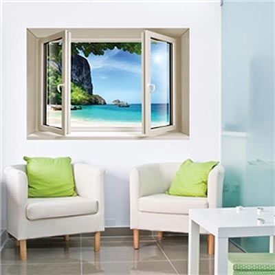 D Effect Window Sea View Wall Decal Looks Cool Pinterest - 3d effect wall decals